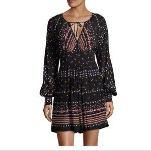 Free People Coryn Mini Dress Black Multi 2 NWOT